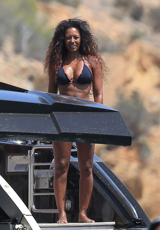 Melanie Brown in Black Bikini In ibiza, July 2016
