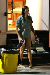 Nina Dobrev on Set of