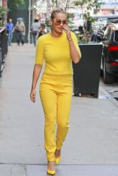 Rita Ora in Glaringly Yellow Outfit  - New York City 7/20/2016