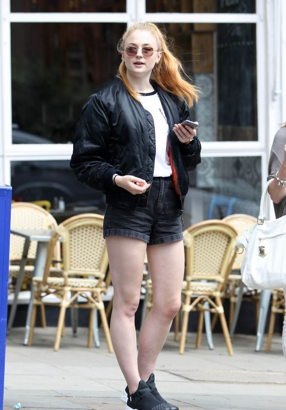 Sophie Turner Leggy in Shorts - Out in Hampstead, July 2016