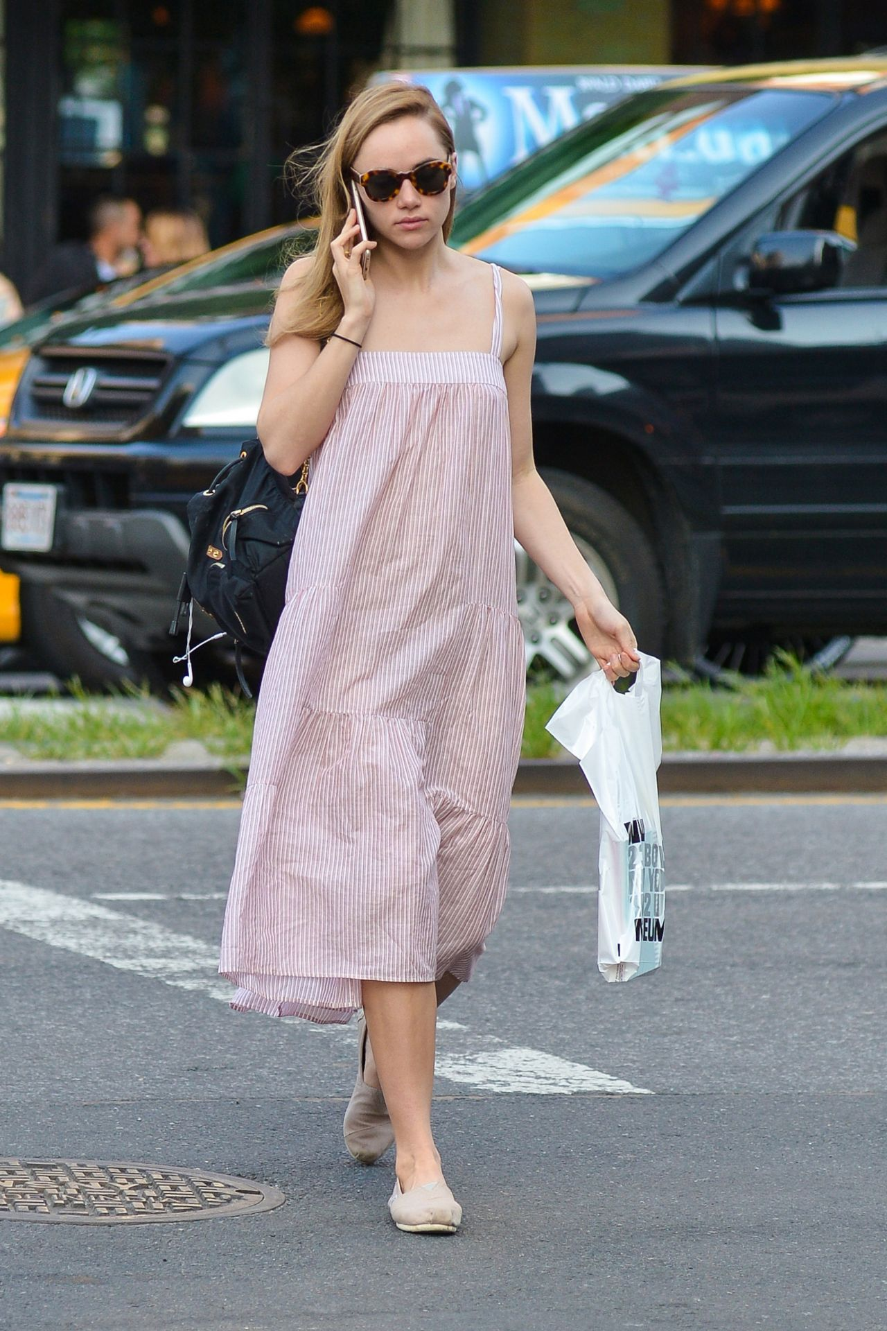 suki waterhouse in summer dress new york city 7 20 2016. Black Bedroom Furniture Sets. Home Design Ideas