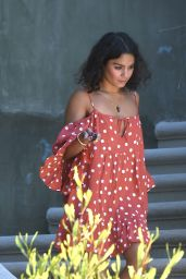 Vanessa Hudgens in a Short Summer Dress, Los Angeles 7/20/2016
