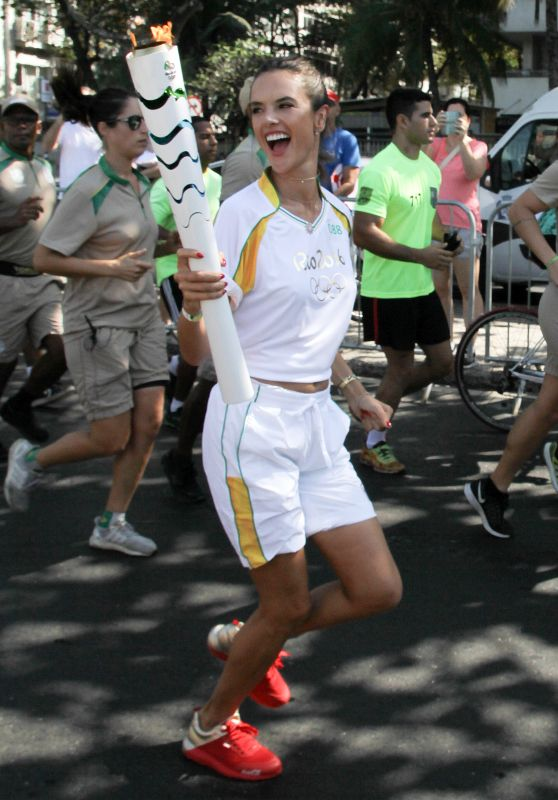 Alessandra Ambrosio Passes on the Olympic Torch for the Rio Games Brazil 8/5/2016