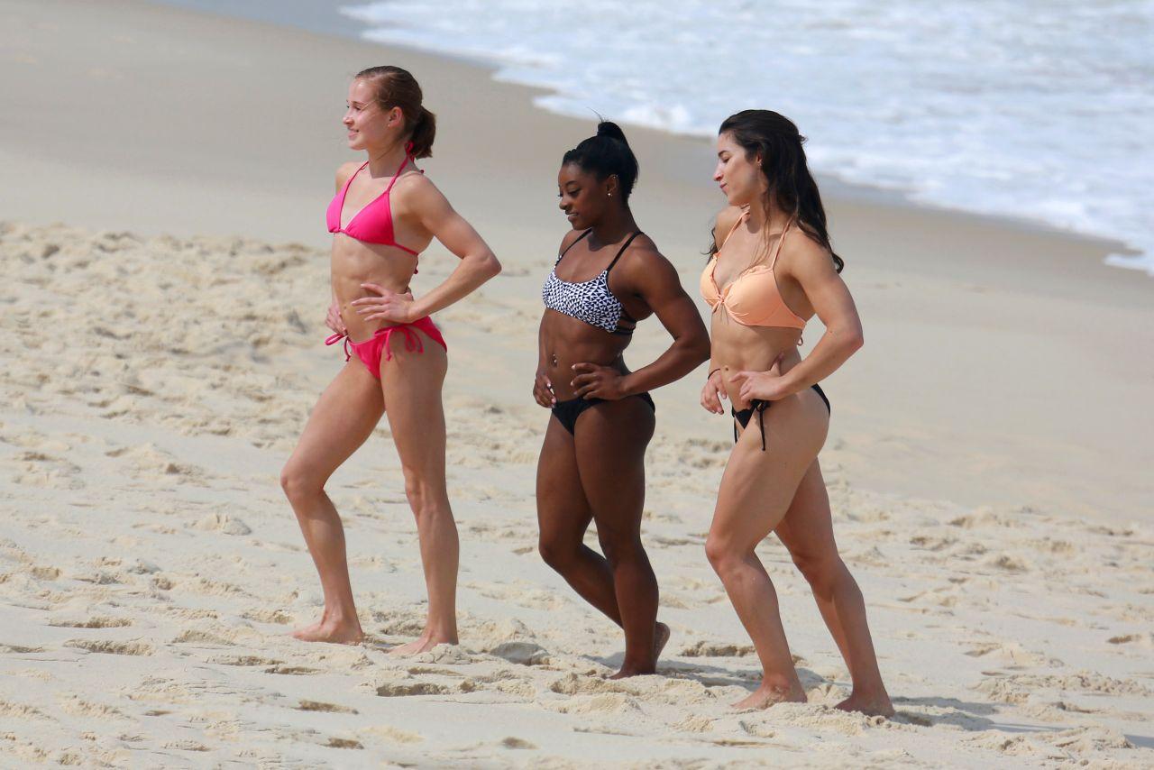 5c23d5e2295dd Aly Raisman, Simone Biles & Madison Kocian in Bikinis at a beach in Rio de  Janeiro ...