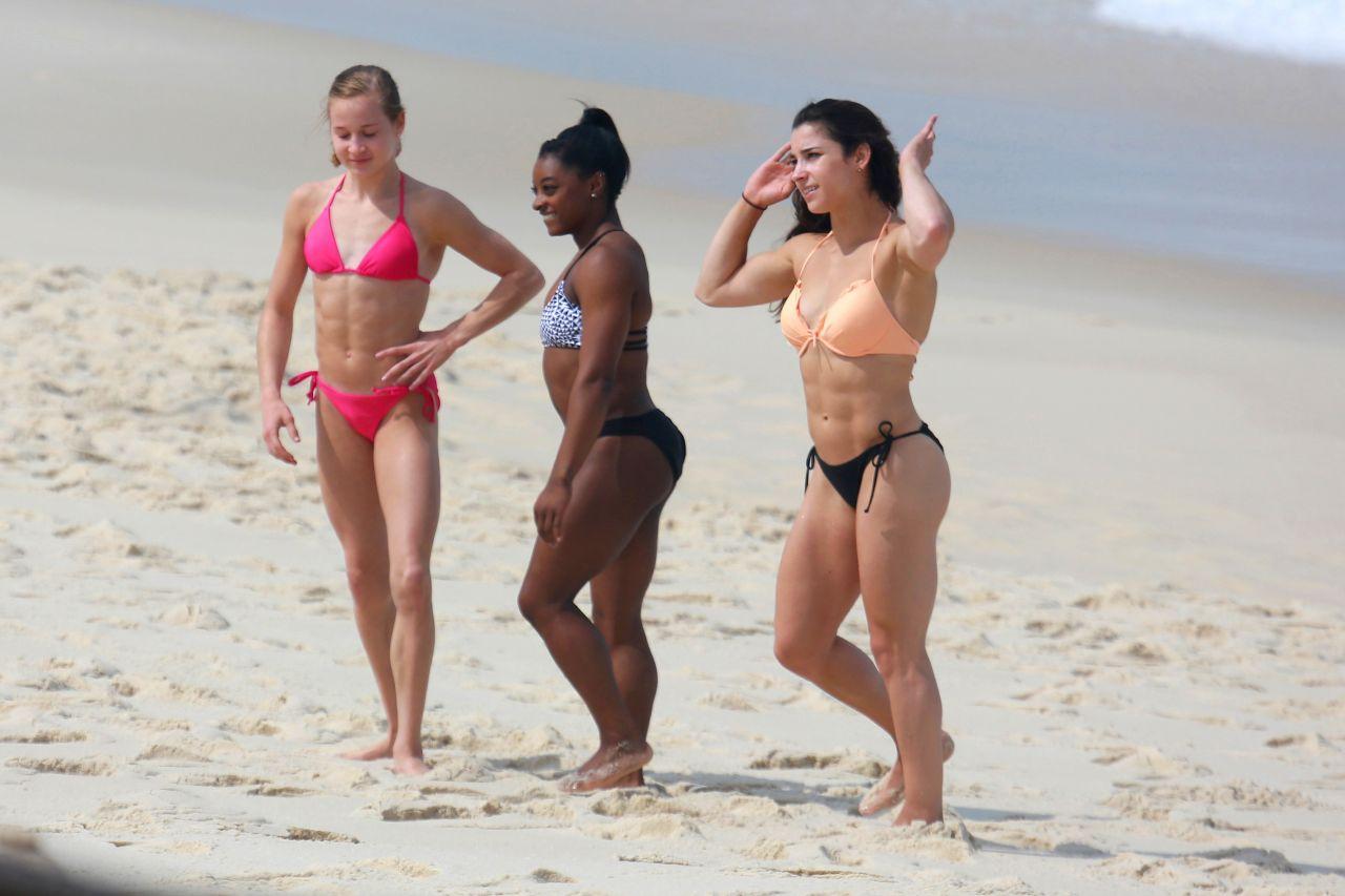 Aly Raisman, Simone Biles & Madison Kocian in Bikinis at a ...