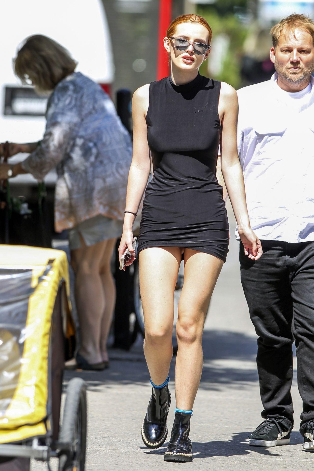 Bella Thorne In Black Mini Dress Montreal August 2016