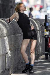 Bella Thorne in Black Mini Dress - Montreal, August 2016