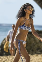 Chanel Iman in Bikini on the Beach in Barbados 8/3/2016
