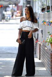 Chanel Iman Style - Leaves a Restaurant in West hollywood 8/25/2016