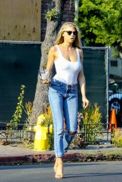 Charlotte McKinney in White Tank and Blue Jeans - Shopping in West Hollywood 8/24/2016