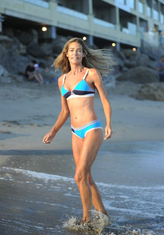 Denise Richards in Bikini on the Beach, Malibu 8/8/2016