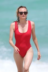 Diane Kruger in Red Swimsuit on Miami Beach 8/28/2016