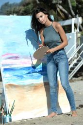 Emily Ratajkowski - Paints The Beach Wearing American Eagle Denim - Malibu, CA 8/16/2016