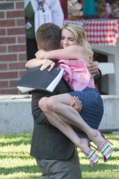 Emma Roberts on the Set of Scream Queens in Los Angeles 8/10/2016
