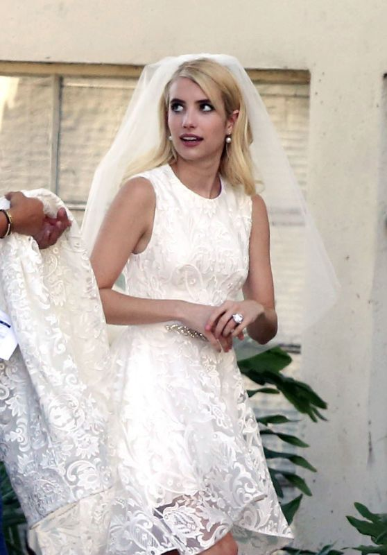 Emma Roberts on the Set of Scream Queens in Los Angeles 8/19/2016