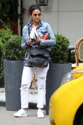 Emmanuelle Chriqui Urban Outfit - Hailing a Taxi Vancouver 8/3/2016