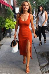 Giada De Laurentiis in a Low-Cut Orange Dress for NYC Lunch, August 2016