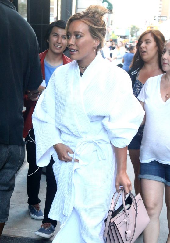 Hilary Duff - in a Bathrobe - New York City 8/23/2016