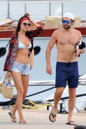 Irina Shayk in Bikini Top at a dock in Sardinia 8/1/2016