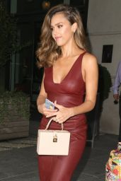 Jessica Alba in Oxblood Red Leather Shift Dress - NYC 8/25/2016
