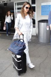 Jessica Alba Travel Outfit - LAX in LA 8/26/2016