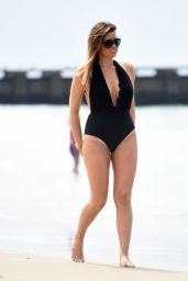 Jessica Wright in a Black Swimsuit at Malibu Beach 8/14/2016