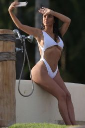 Kim Kardashian in a White Swimsuit in Mexico 08/19/2016