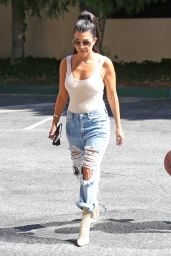 Kourtney Kardashian in Ripped Jeans - Woodland Hills CA 8/9/2016