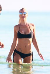 Laura Cremaschi in Black Bikini on Miami Beach 8/21/2016