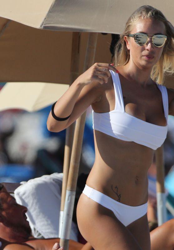 Laura Cremaschi in White Bikini on Miami Beach 8/20/2016