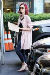 Lily Collins Casual Style - at Earthbar in West Hollywood 8/5/2016
