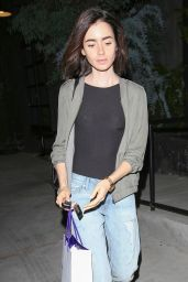 Lily Collins - Leaving the Salon With Her Normal Hair Color in West Hollywood, August 2016