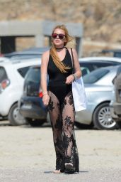 Lindsay Lohan on a Beach in Mykonos, Greece, August 2016