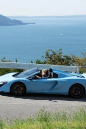 Michelle Hunziker - Take a Scenic Tour Arround Garda Lake in a blue McLaren in Gargano 8/17/2016