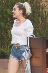 Miley Cyrus in Jeans Shorts - Out for Dinner in Soho 8/28/2016