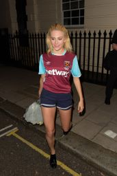 Pixie Lott in A West Ham Kit - Leaving the Hayemarket Theatre in London 8/4/2016