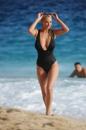 Rhian Sugden in Black Swimsuit - Beach in Turkey 8/18/2016
