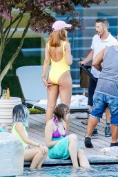 Rihanna in Swimsuit at a Pool in Zurich, August 2016
