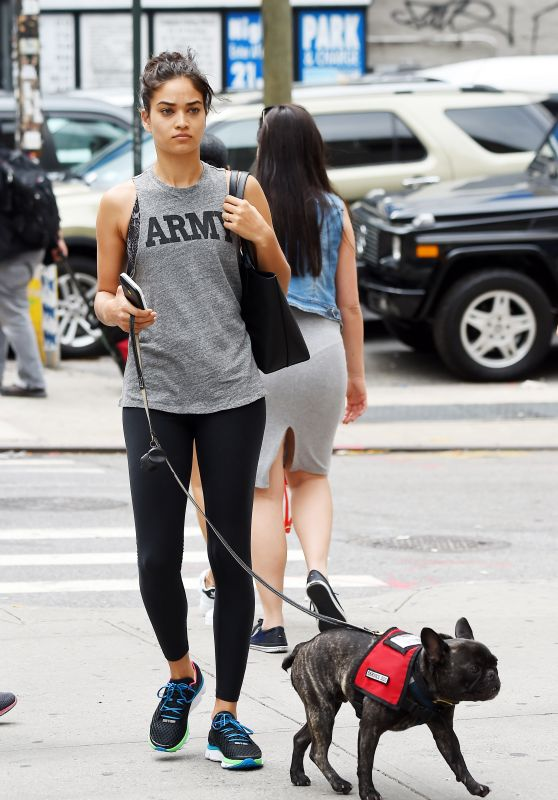 Shanina Shaik - Walking Her Dog in New York City 8/18/2016
