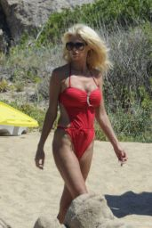 Victoria Silvstedt in a Red Swimsuit on Vacation in Porto Cervo, Sardinia 8/3/2016