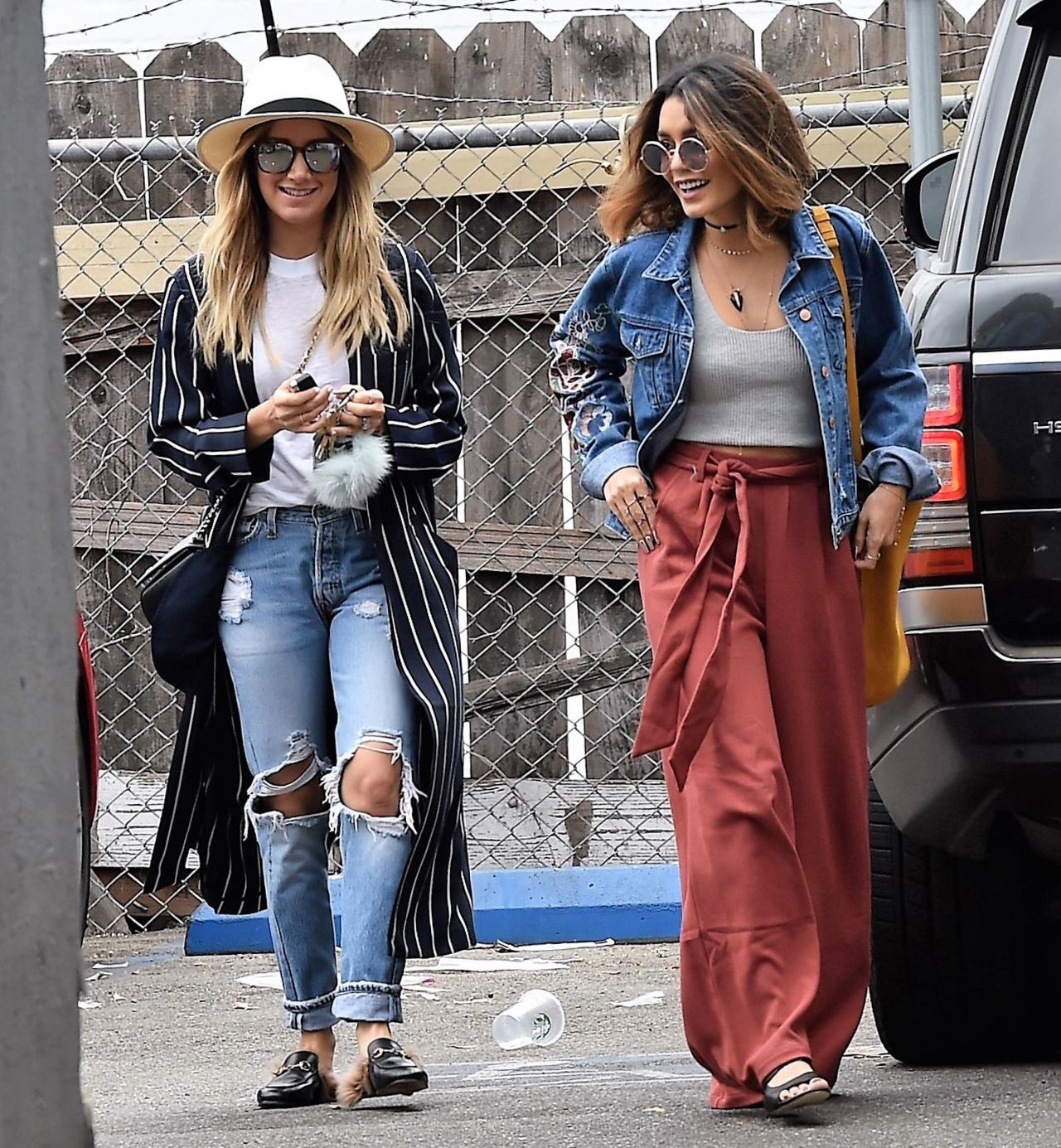 Ashley Tisdale And Vanessa Hudgens Shopping In Beverly