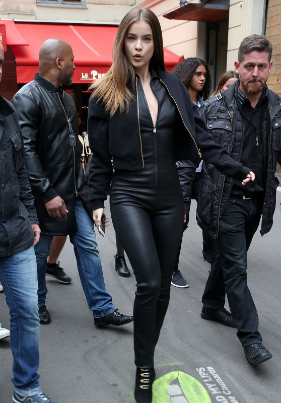 Barbara Palvin in Leather Catsuit - Paris 9/29/ 2016