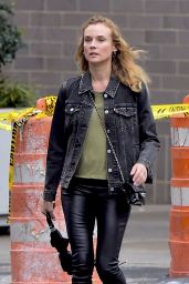 Diane Kruger in Skinny Black Leather Pants - Los Angeles 9/21/2016