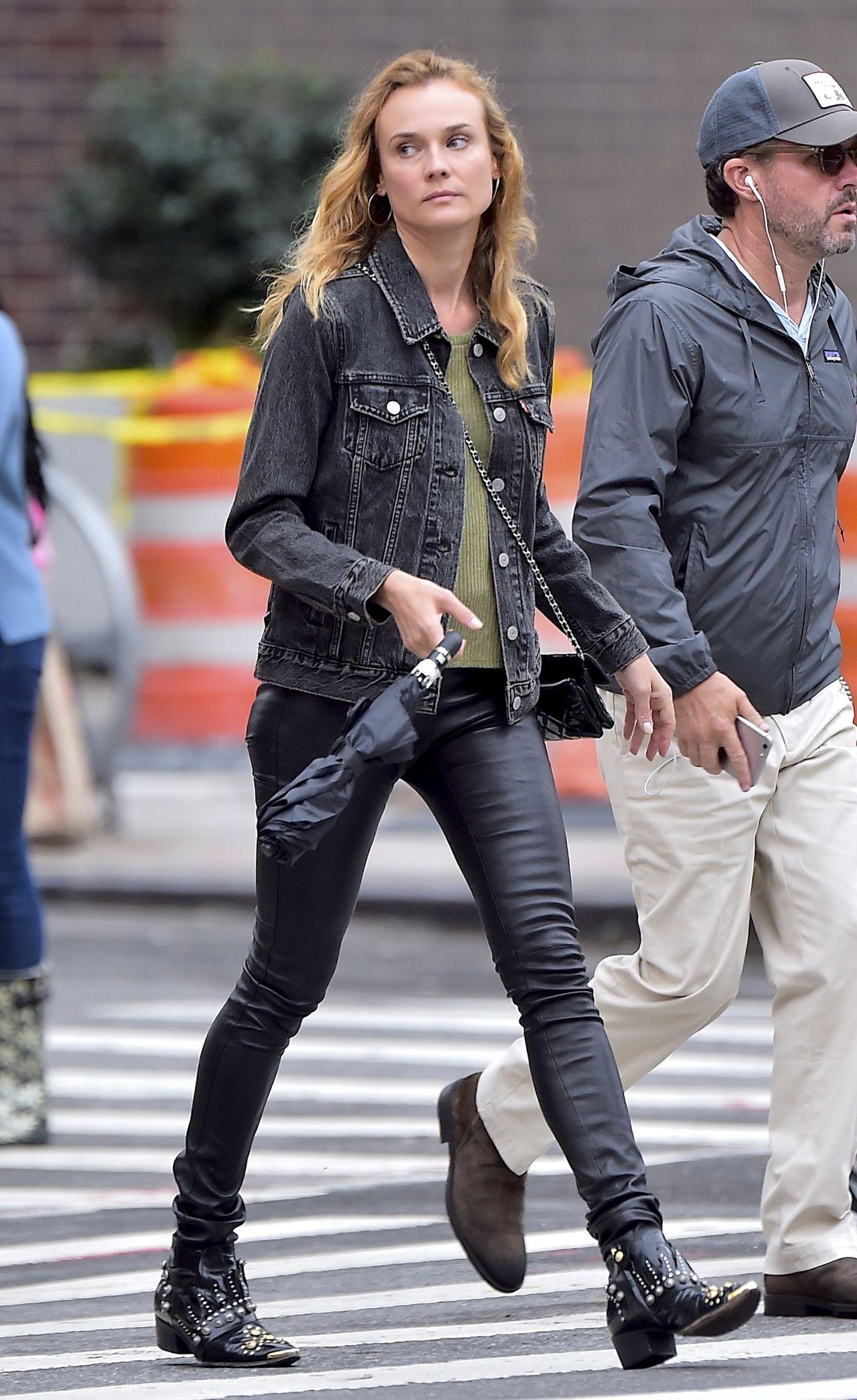 Diane Kruger In Skinny Black Leather Pants Los Angeles 9