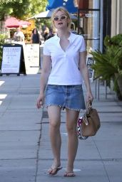 Elle Fanning in Mini Skirt - Stops by a Nail Salon in West Hollywood 9/1/2016