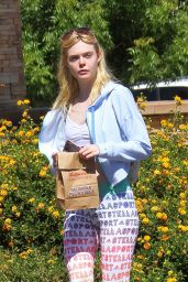 Elle Fanning in Tights - Outside a Pharmacy in Los Angeles 9/9/2016