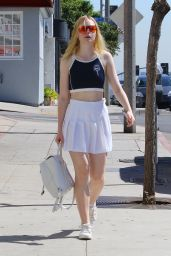 Elle Fanning Wearing a Tennis Outfit - Beverly Hills 9/30/ 2016