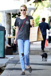 Emma Roberts Street Style - Picks up Breakfast From Larchmont Village in LA 9/21/2016