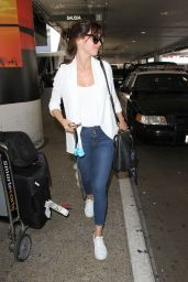 Felicity Jones Travel Outfit - Arrives at LAX in Los Angeles 8/31/2016