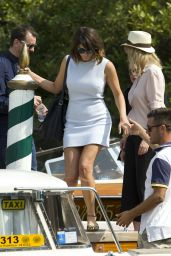 Gemma Arterton in Mini Dress - Boards a Boat at the Excelsior Hotel in Venice 9/7/2016